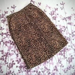 Velvet Leopard Pencil Skirt EUC